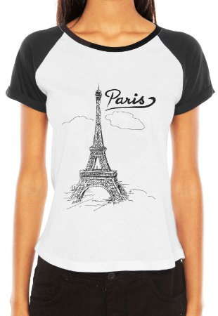 Raglan Feminina Desenho Paris - Customizadas/ Estampadas/ Camisetas - Personalizadas/ Customizadas/ Estampadas/ Camiseteria/ Estamparia/ Estampar/ Personalizar/ Customizar/ Criar/ Camisa Blusas Baratas Modelos Legais Loja Online