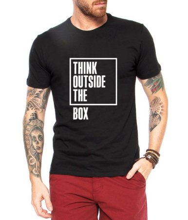 Camiseta Masculina Think Outside The Box - Personalizadas/ Customizadas/ Estampadas/ Camiseteria/ Estamparia/ Estampar/ Personalizar/ Customizar/ Criar/ Camisa Blusas Baratas Modelos Legais Loja Online