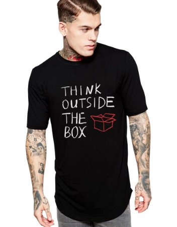 Camiseta Oversized Think Outside The Box - Personalizadas/ Customizadas/ Estampadas/ Camiseteria/ Estamparia/ Estampar/ Personalizar/ Customizar/ Criar/ Camisa Blusas Baratas Modelos Legais Loja Online