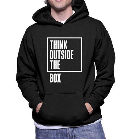Moletom Preto Masculino Think Outside The Box - Moletons Personalizados Blusa/ Casacos Baratos/ Blusão/ Jaqueta Canguru/ Blusa de Frio