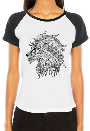Raglan Feminina Leão Mandala - Customizadas/ Estampadas/ Camisetas - Personalizadas/ Customizadas/ Estampadas/ Camiseteria/ Estamparia/ Estampar/ Personalizar/ Customizar/ Criar/ Camisa Blusas Baratas Modelos Legais Loja Online