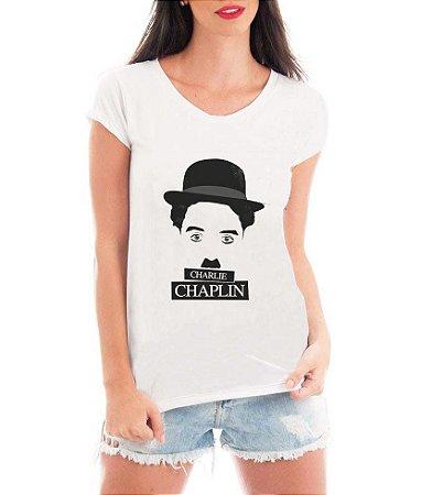 Blusa T-shirt Feminina Charlie Chaplin - Personalizadas/ Customizadas/ Estampadas/ Camiseteria/ Estamparia/ Estampar/ Personalizar/ Customizar/ Criar/ Camisa Blusas Baratas Modelos Legais Loja Online