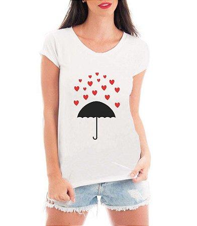 Blusa T-Shirt Feminina Chuva De Corações - Personalizadas/ Customizadas/ Estampadas/ Camiseteria/ Estamparia/ Estampar/ Personalizar/ Customizar/ Criar/ Camisa Blusas Baratas Modelos Legais Loja Online