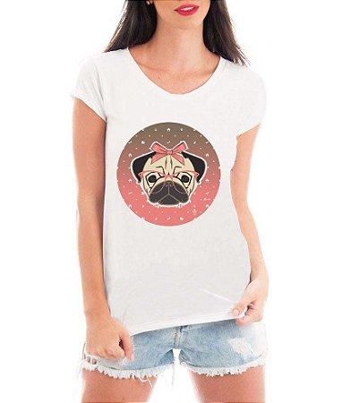 Blusa T-shirt Feminina Branca Pug Óculos Laço - Personalizadas/ Customizadas/ Estampadas/ Camiseteria/ Estamparia/ Estampar/ Personalizar/ Customizar/ Criar/ Camisa Blusas Baratas Modelos Legais Loja Online