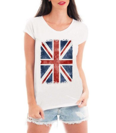 Blusa T-shirt Feminina Bandeira Londres London  - Personalizadas/ Customizadas/ Estampadas/ Camiseteria/ Estamparia/ Estampar/ Personalizar/ Customizar/ Criar/ Camisa Blusas Baratas Modelos Legais Loja Online