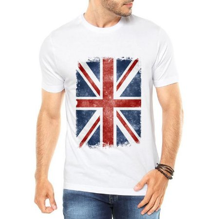 Camiseta Branca Masculina Bandeira Londres London - Personalizadas/ Customizadas/ Estampadas/ Camiseteria/ Estamparia/ Estampar/ Personalizar/ Customizar/ Criar/ Camisa Blusas Baratas Modelos Legais Loja Online