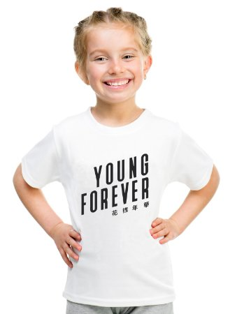 Camiseta Infantil Branca Feminina Menina Bts Bangtan Boys Young Forever - Personalizadas/ Customizadas/ Estampadas/ Camiseteria/ Estamparia/ Estampar/ Personalizar/ Customizar/ Criar/ Camisa Blusas Baratas Modelos Legais Loja Online