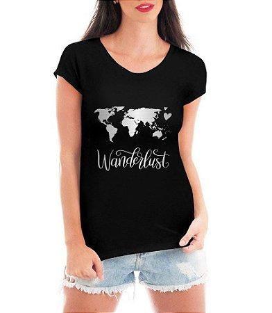 Blusa Feminina Wanderlust Travel Viagem Trip Tshirt Camiseta - Personalizadas/ Customizadas/ Estampadas/ Camiseteria/ Estamparia/ Estampar/ Personalizar/ Customizar/ Criar/ Camisa Blusas Baratas Modelos Legais Loja Online