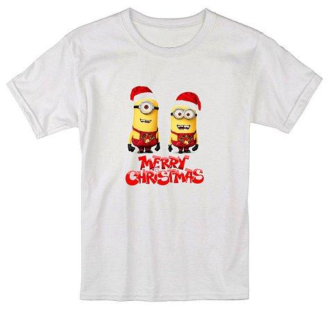 Camiseta Infantil Branca Natal Ano Novo Minions Desenho Réveillon - Personalizadas/ Customizadas/ Estampadas/ Camiseteria/ Estamparia/ Estampar/ Personalizar/ Customizar/ Criar/ Camisa Blusas Baratas Modelos Legais Loja Online