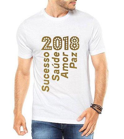 Camiseta Masculina Ano Novo 2018 Réveillon Alegria Branca - Personalizadas/ Customizadas/ Estampadas/ Camiseteria/ Estamparia/ Estampar/ Personalizar/ Customizar/ Criar/ Camisa Blusas Baratas Modelos Legais Loja Online