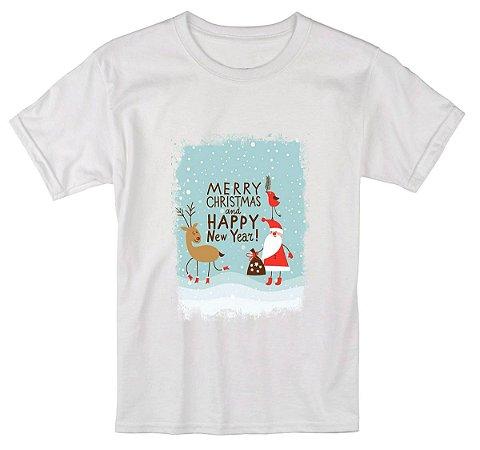 Camiseta Infantil Branca Natal Ano Novo 2018 Réveillon - Personalizadas/ Customizadas/ Estampadas/ Camiseteria/ Estamparia/ Estampar/ Personalizar/ Customizar/ Criar/ Camisa Blusas Baratas Modelos Legais Loja Online