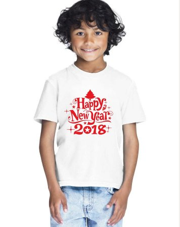 Camiseta Infantil Branca Natal Ano Novo Réveillon 2018 - Personalizadas/ Customizadas/ Estampadas/ Camiseteria/ Estamparia/ Estampar/ Personalizar/ Customizar/ Criar/ Camisa Blusas Baratas Modelos Legais Loja Online