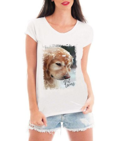 Camiseta Feminina Tshirt Blusa Feminina Cachorro na Neve - Personalizada/ Estampadas/ Camiseteria/ Estamparia/ Estampar/ Personalizar/ Customizar/ Criar/ Camisa T-shirts Blusas Baratas Modelos Legais Loja Online