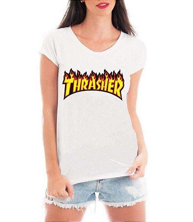 Camiseta Feminina Tshirt Blusa Feminina Thrasher  - Personalizada/ Estampadas/ Camiseteria/ Estamparia/ Estampar/ Personalizar/ Customizar/ Criar/ Camisa T-shirts Blusas Baratas Modelos Legais Loja Online
