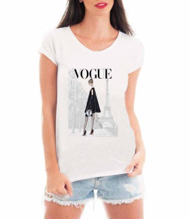 Camiseta Feminina Tshirt Blusa Feminina Vogue Paris Moda - Personalizada/ Estampadas/ Camiseteria/ Estamparia/ Estampar/ Personalizar/ Customizar/ Criar/ Camisa T-shirts Blusas Baratas Modelos Legais Loja Online