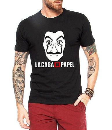 Camiseta Masculina La Casa de Papel Seriado Série  - Personalizadas/ Customizadas/ Estampadas/ Camiseteria/ Estamparia/ Estampar/ Personalizar/ Customizar/ Criar/ Camisa Blusas Baratas Modelos Legais Loja Online