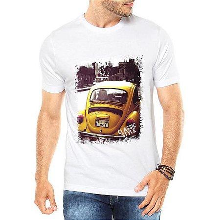Camiseta Masculina Branca Fusca Amarelo Carro Antigo Clássico - Personalizadas/ Customizadas/ Estampadas/ Camiseteria/ Estamparia/ Estampar/ Personalizar/ Customizar/ Criar/ Camisa Blusas Baratas Modelos Legais Loja Online