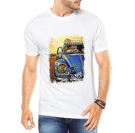 Camiseta Masculina Branca Fusca Azul Carro Antigo Clássico - Personalizadas/ Customizadas/ Estampadas/ Camiseteria/ Estamparia/ Estampar/ Personalizar/ Customizar/ Criar/ Camisa Blusas Baratas Modelos Legais Loja Online