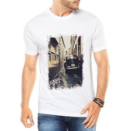 Camiseta Masculina Branca  Fusca Preto Carro Antigo Clássico- Personalizadas/ Customizadas/ Estampadas/ Camiseteria/ Estamparia/ Estampar/ Personalizar/ Customizar/ Criar/ Camisa Blusas Baratas Modelos Legais Loja Online