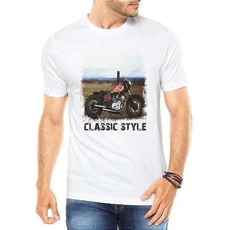 Camiseta Masculina Classic Style Moto Antiga Clássica - Personalizadas/ Customizadas/ Estampadas/ Camiseteria/ Estamparia/ Estampar/ Personalizar/ Customizar/ Criar/ Camisa Blusas Baratas Modelos Legais Loja Online