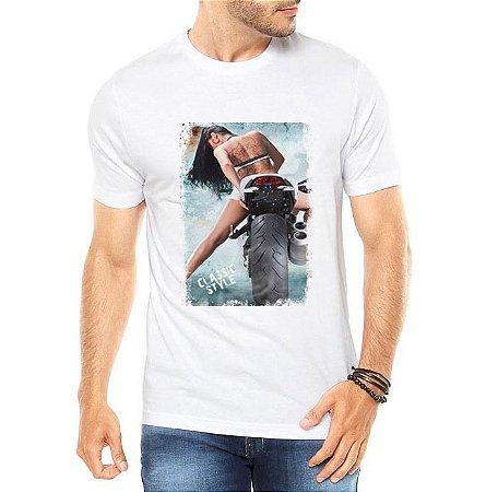 Camiseta Masculina Classic Style Moto Mulher Sexy- Personalizadas/ Customizadas/ Estampadas/ Camiseteria/ Estamparia/ Estampar/ Personalizar/ Customizar/ Criar/ Camisa Blusas Baratas Modelos Legais Loja Online