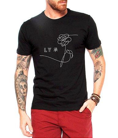 Camiseta Masculina Preta Bts Love Yourself Kpop - Personalizadas/ Customizadas/ Estampadas/ Camiseteria/ Estamparia/ Estampar/ Personalizar/ Customizar/ Criar/ Camisa Blusas Baratas Modelos Legais Loja Online