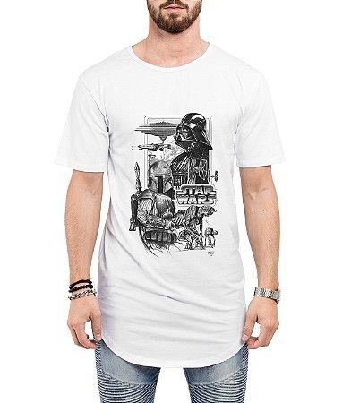 Camiseta Long Line Oversized Masculina Star Wars Darth Vader Camisetas Barra Curvada - Camisetas Personalizadas/ Customizadas/ Estampadas/ Camiseteria/ Estamparia/ Estampar/ Personalizar/ Customizar/ Criar/ Camisa Barata  Loja Online