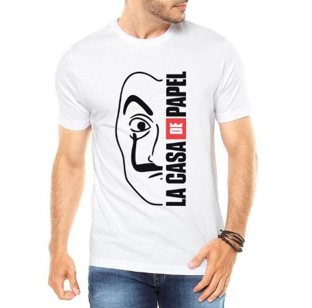 Camiseta Branca Masculina La Casa De Papel Máscara Salvador Dali - Personalizadas/ Customizadas/ Estampadas/ Camiseteria/ Estamparia/ Estampar/ Personalizar/ Customizar/ Criar/ Camisa Blusas Baratas Modelos Legais Loja Online