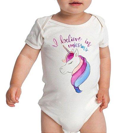 Body Bebê A Believe In Unicorns - Roupinhas Macacão Infantil Bodies Roupa Manga Curta Menino Menina Personalizados
