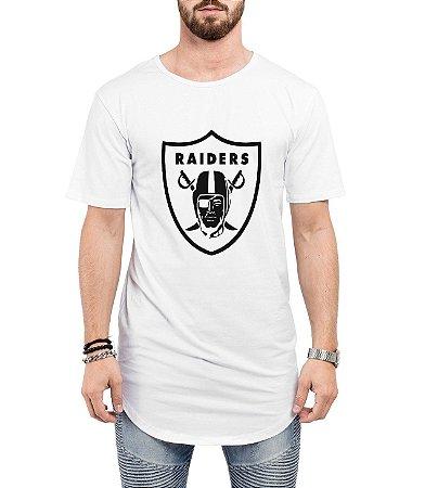 Camiseta Long Line Oversized Masculina Raiders Camisetas Barra Curvada - Camisetas Personalizadas/ Customizadas/ Estampadas/ Camiseteria/ Estamparia/ Estampar/ Personalizar/ Customizar/ Criar/ Camisa Barata  Loja Online