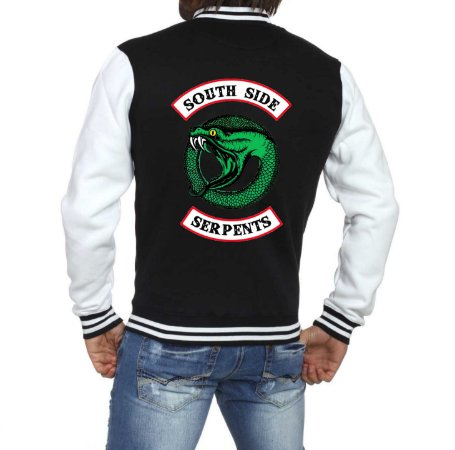 Jaqueta College Masculina Riverdale South Side Serpents 2ª Temporada  Nova Logo Séries Seriados Serpentes do Sul - Jaquetas Colegial Americana Casacos Blusa Loja Online ​