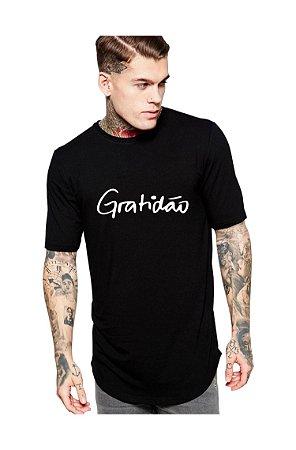 Camiseta Gratidão Masculina Long Line Oversized Gratidão Camisa Gospel Religiosa Evangélica