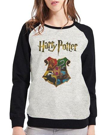 Moletom Harry Potter Feminino Hogwarts Raglan