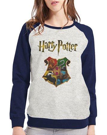Moletom Harry Potter Feminino Hogwarts Casas Raglan
