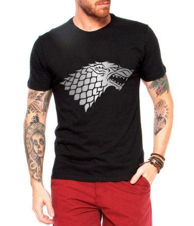 Camiseta Masculina Game Of Thrones Lobo House Stark Series