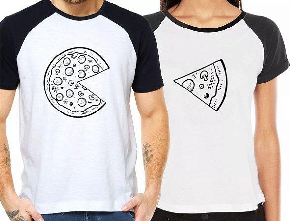 Camiseta Casal Dia dos Namorados Pizza Camisetas Divertidas Kit 2 Camisetas Kit Casal