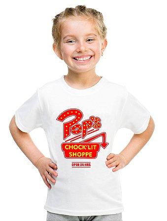 Camiseta Infantil Riverdale Pops Série Serpentes do Sul Blusa Menina Branca