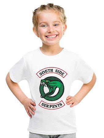 Camiseta Infantil Riverdale Serpentes do Sul Série Blusa Nova Logo Infantil Menina
