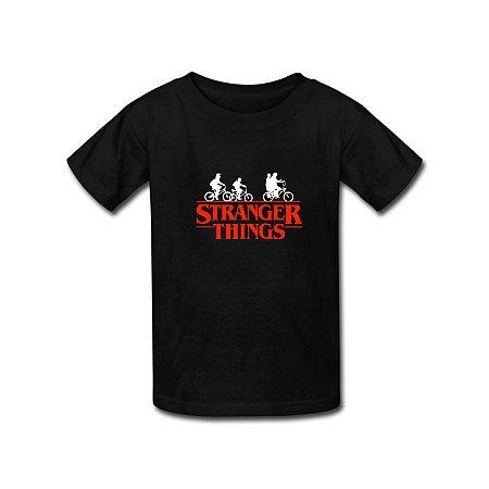 Camiseta Infantil Stranger Things Série Mundo Invertido Preta