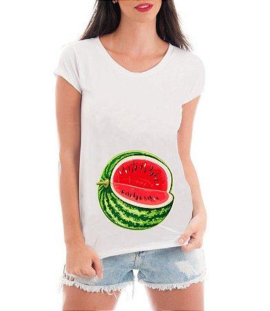 Camiseta Feminina Gestante Melancia Blusa Grávida Mamãe Divertida