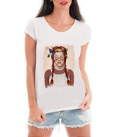 Camiseta Feminina Blusa Branca Anne Com E Série Anne With An E Seriado 