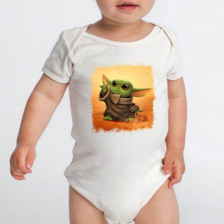 Body Bebê Star Wars Baby Yoda Serie Personagem Branco