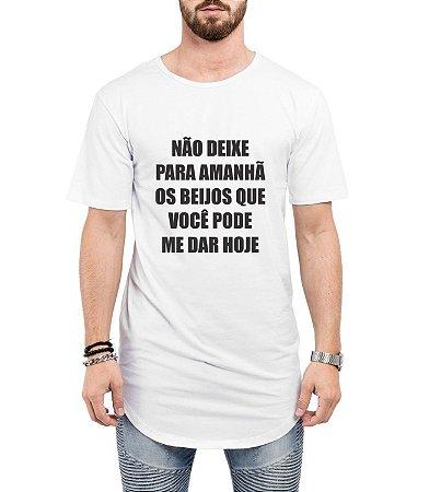 Camiseta Longline Oversized Beijos Carnaval Masculina Engraçada Camisa Long Line