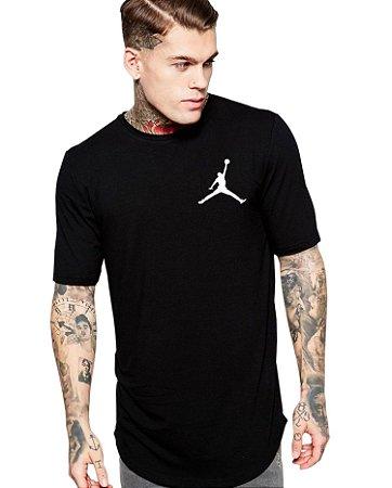 Camiseta Longline Esporte Masculina Long Line Oversized Preta Branca Camisa