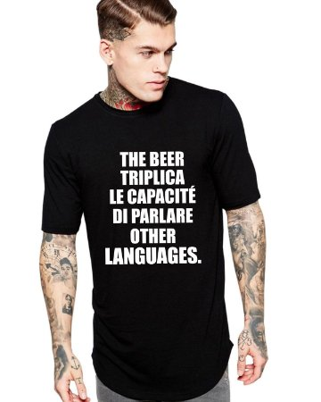 Camiseta Masculina Carnaval The Beer Long Line Oversized Preta/Branca