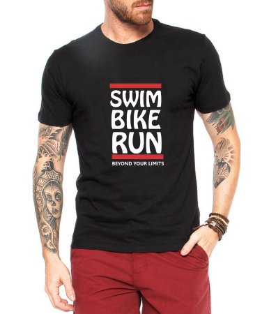 Camiseta Masculina Triathlon Manga Curta Preta