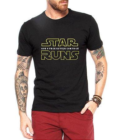 Camisa Masculina Preta Corrida Camiseta Divertida  Star Runs Satira Esporte