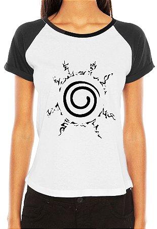 Camiseta Raglan Feminina Naruto Uzumaki Blusa Clã Anime Branca
