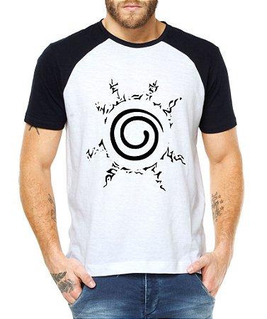 Camiseta Raglan Masculina Naruto Uzumaki Camisa Clã Anime Branca