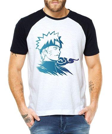 Camiseta Raglan Masculina Naruto Camisa Clã Anime Personagem Branca
